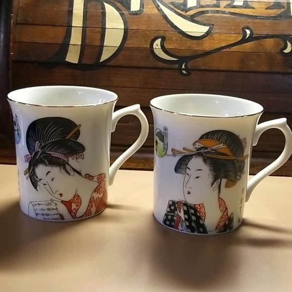 Set of 2 Vintage Japanese Geisha cups